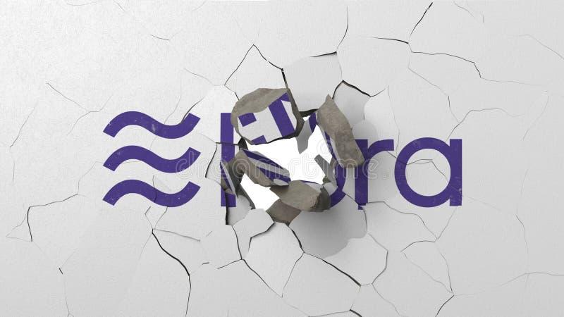Avbrott av väggen med målad logo av Vågen Krisen gällde den redaktörs- tolkningen 3D stock illustrationer