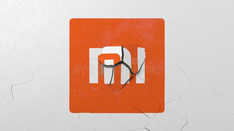 Avbrott av väggen med målad logo av Xiaomi Krisen gällde den redaktörs- tolkningen 3D royaltyfri illustrationer