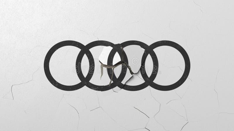 Avbrott av v?ggen med m?lad logo av Audi Krisen gällde den redaktörs- tolkningen 3D royaltyfri illustrationer