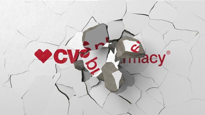 Avbrott av v?ggen med m?lad logo av CVS-apotek Krisen gällde den redaktörs- tolkningen 3D stock illustrationer
