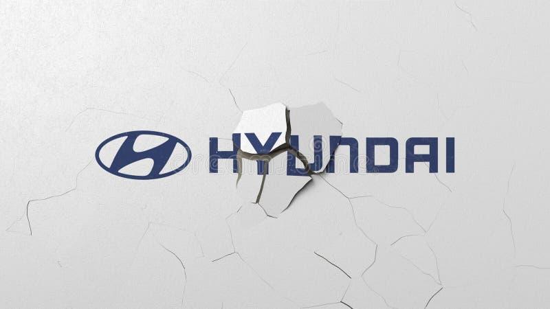 Avbrott av v?ggen med m?lad logo av Hyundai Krisen gällde den redaktörs- tolkningen 3D royaltyfri illustrationer