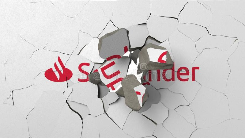 Avbrott av v?ggen med m?lad logo av Santander Krisen gällde den redaktörs- tolkningen 3D royaltyfri illustrationer