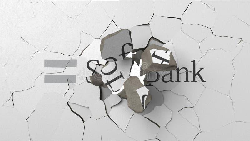 Avbrott av v?ggen med m?lad logo av SoftBank Krisen gällde den redaktörs- tolkningen 3D royaltyfri illustrationer