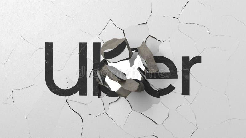 Avbrott av v?ggen med m?lad logo av Uber Krisen gällde den redaktörs- tolkningen 3D vektor illustrationer