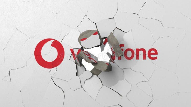 Avbrott av v?ggen med m?lad logo av Vodafone Krisen gällde den redaktörs- tolkningen 3D vektor illustrationer