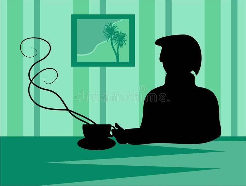 avbrottskaffesilhouette stock illustrationer
