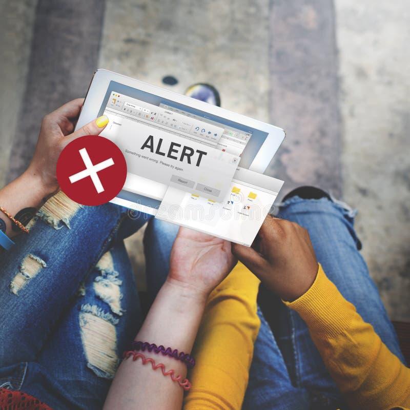 Avbrutet varningsbegrepp för uppmärksamhet vaken anslutning fotografering för bildbyråer
