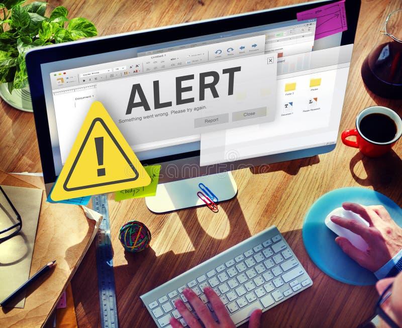 Avbrutet varningsbegrepp för uppmärksamhet vaken anslutning arkivbild