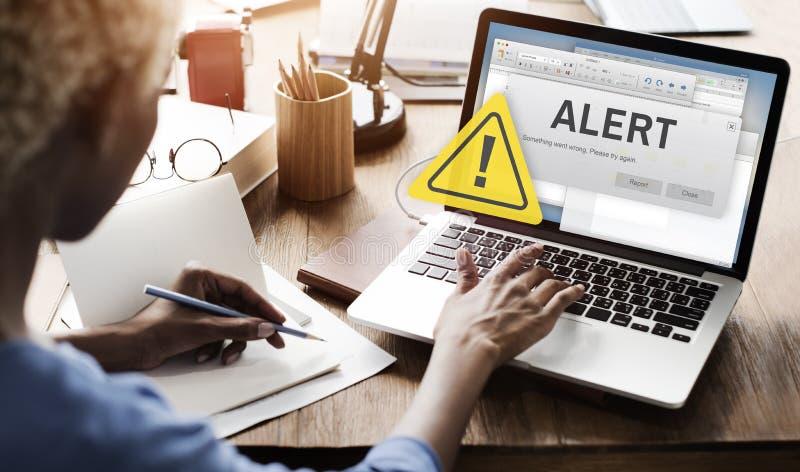 Avbrutet varningsbegrepp för uppmärksamhet vaken anslutning arkivbilder