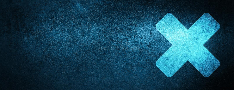 Avbryt bakgrund för banret för symbolssakkunnigblått stock illustrationer