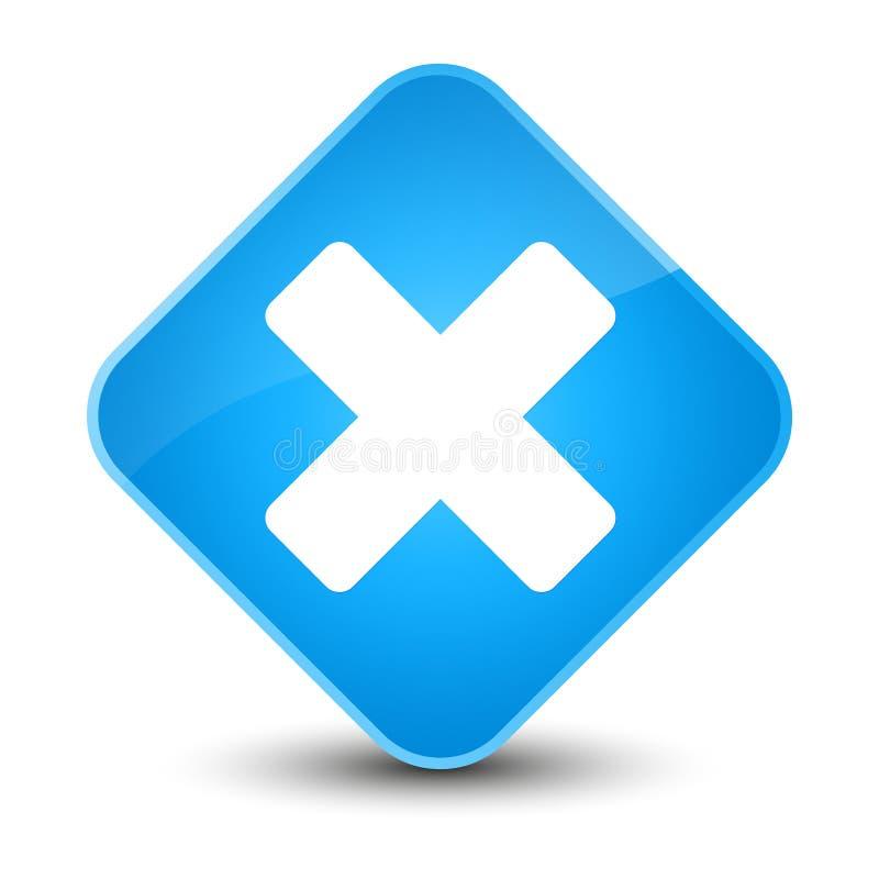 Avbryt den eleganta cyan blåa diamantknappen för symbolen stock illustrationer
