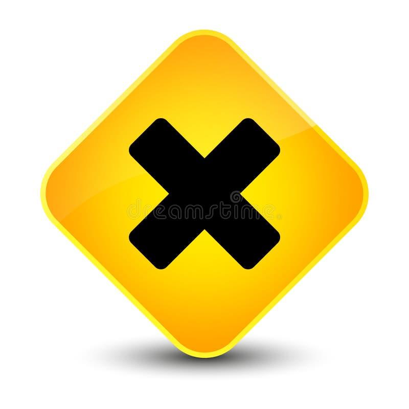 Avbryt den eleganta gula diamantknappen för symbolen royaltyfri illustrationer