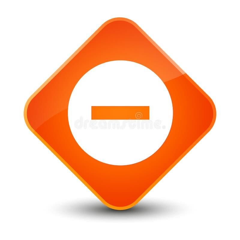 Avbryt den eleganta orange diamantknappen för symbolen stock illustrationer
