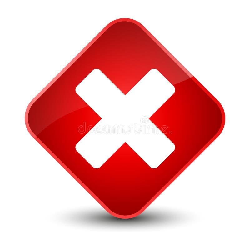 Avbryt den eleganta röda diamantknappen för symbolen stock illustrationer
