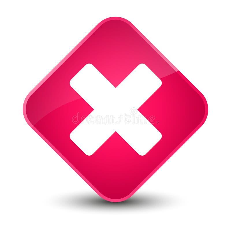 Avbryt den eleganta rosa diamantknappen för symbolen stock illustrationer
