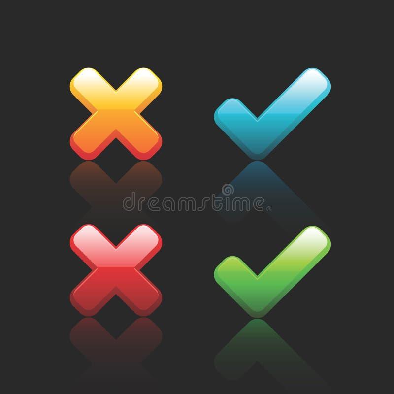 avbryt den ok vektorn för symboler stock illustrationer