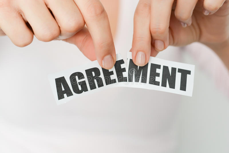 Avbryt en överenskommelse eller avfärda ett avtalsbegrepp arkivfoton