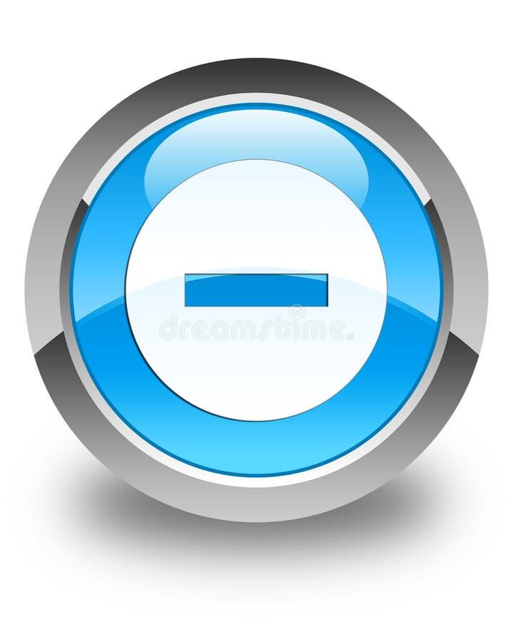 Avbryt för blåttrundan för symbolen den glansiga cyan knappen stock illustrationer