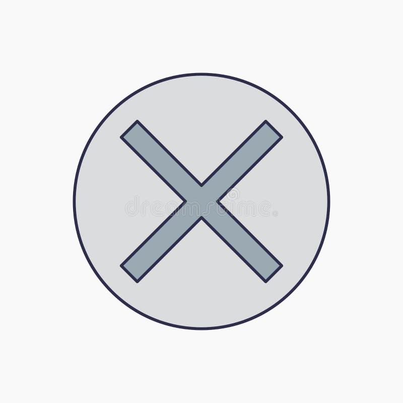 Avbryt symbolen, vektorillustration Sänka designstil illustration för vektorannulleringssymbol som isoleras på vit bakgrund stock illustrationer