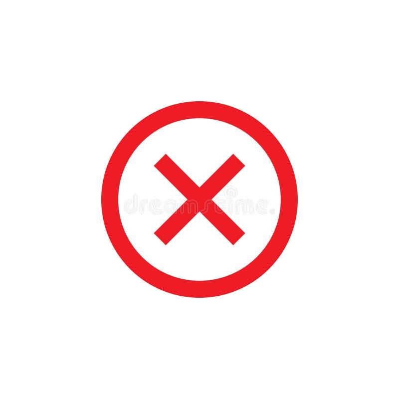 Avbryt, ta bort, ta bort symbolen Vektorillustration, l?genhetdesign stock illustrationer