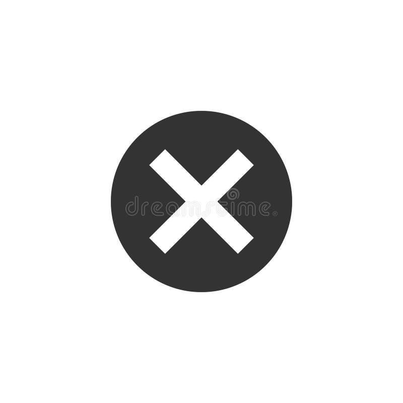 Avbryt, ta bort, ta bort symbolen Vektorillustration, l?genhetdesign vektor illustrationer