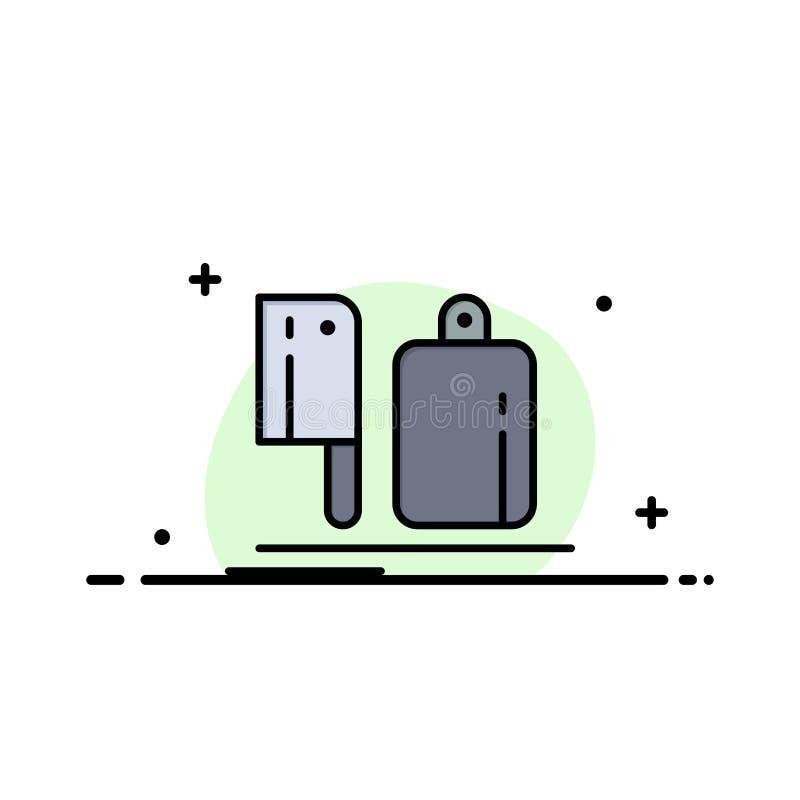 Avbrytare kök, kock, förberedelse, mataffär Logo Template plan f?rg royaltyfri illustrationer