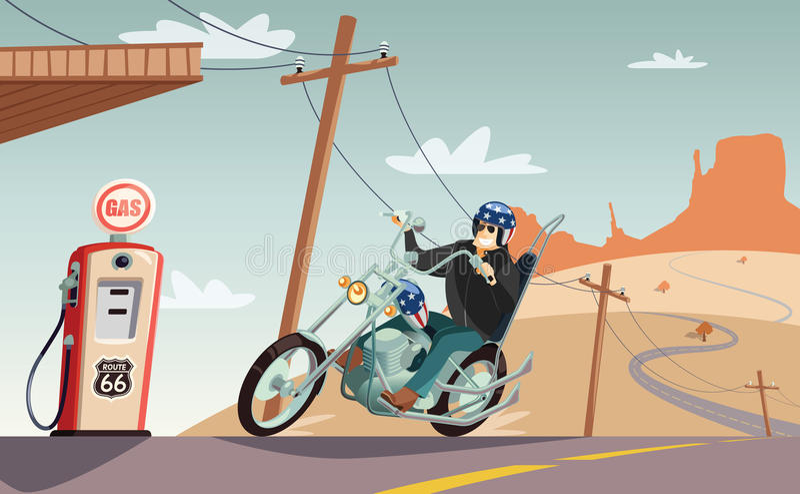 Avbrytarmotorcykel i den Route 66 öknen vektor illustrationer