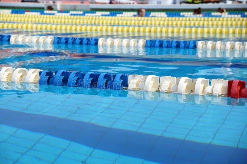 Avdelare av banor i den stora simbassängen fotografering för bildbyråer