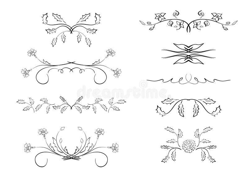 Avdelare - beståndsdelar med blommor royaltyfri illustrationer