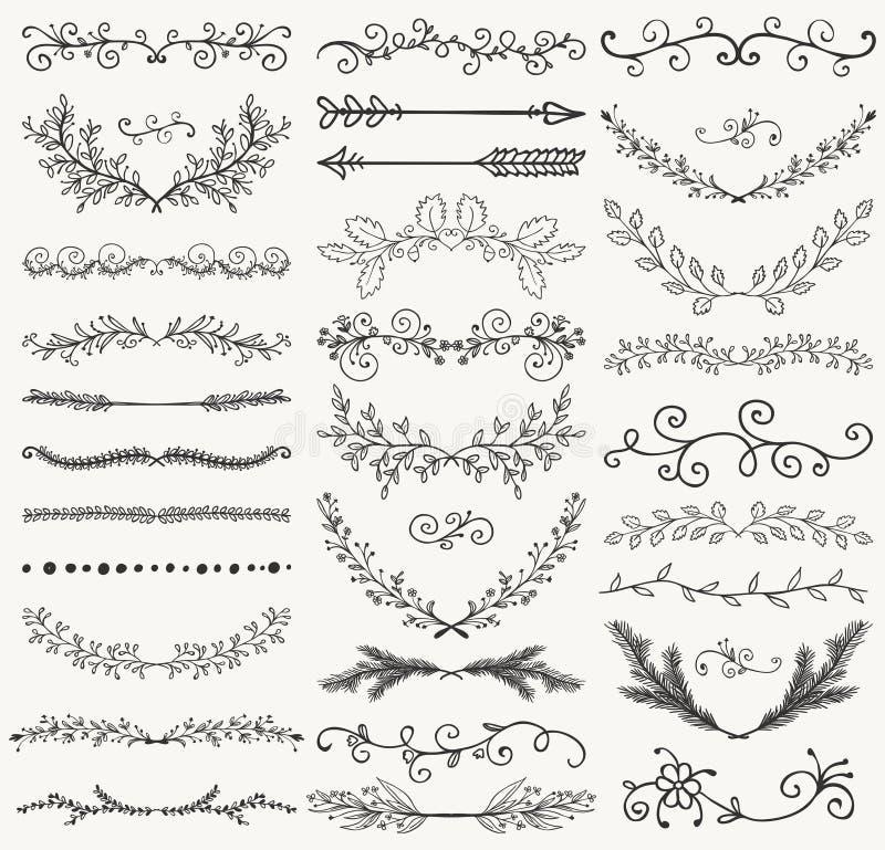 Avdelare för svart hand för vektor drog, filialer, virvlar stock illustrationer