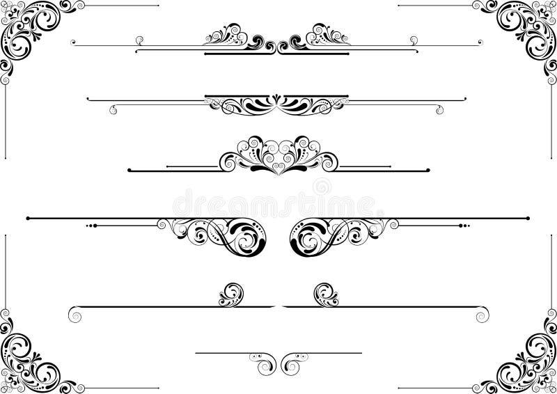Avdelare och blom- design för hörn vektor illustrationer