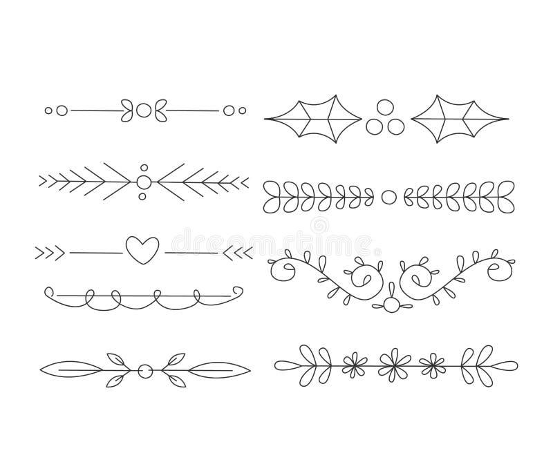 Avdelaruppsättning Calligraphic Handdrawn design royaltyfri illustrationer