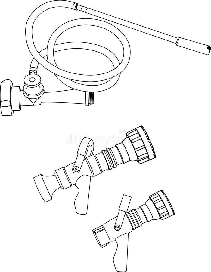 avdelningsbranddysor stock illustrationer