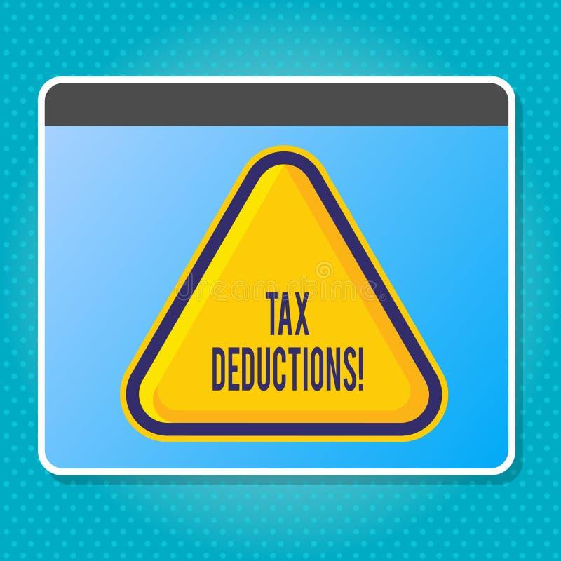 Avdrag för skatt för handskrifttexthandstil Begrepp som betyder förminskning på retur för pengar för skattinvesteringbesparingar vektor illustrationer
