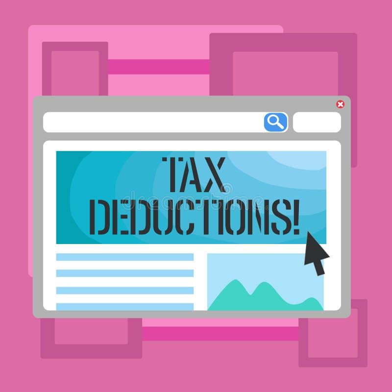 Avdrag för skatt för handskrifttexthandstil Begrepp som betyder förminskning på retur för pengar för skattinvesteringbesparingar stock illustrationer