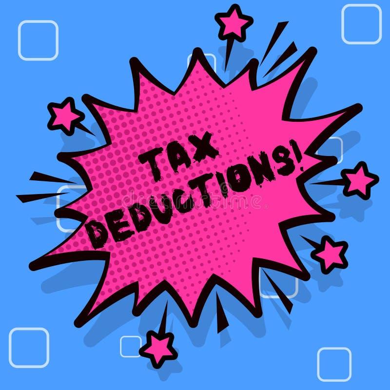 Avdrag för skatt för handskrifttexthandstil Begrepp som betyder förminskningsinkomst som är i stånd att beskattas av spetsiga kos royaltyfri illustrationer