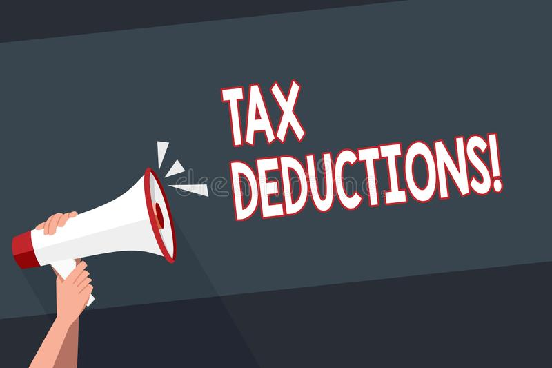 Avdrag för skatt för ordhandstiltext Affärsidé för förminskning på retur för pengar för skattinvesteringbesparingar stock illustrationer
