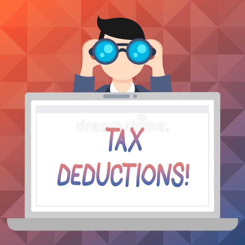 Avdrag för skatt för ordhandstiltext Affärsidé för förminskning på retur för pengar för skattinvesteringbesparingar royaltyfri illustrationer