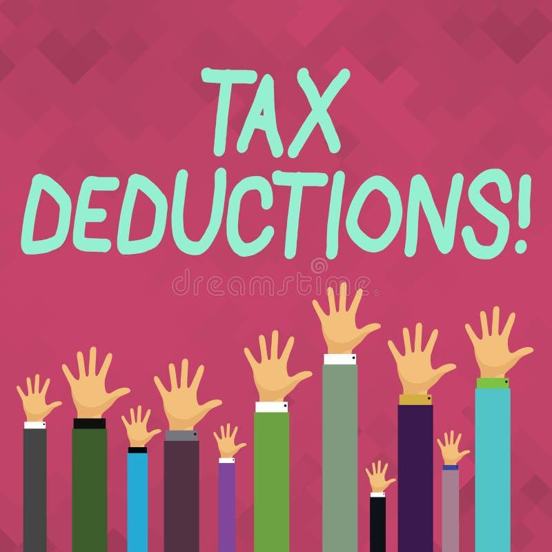 Avdrag för skatt för ordhandstiltext Affärsidé för förminskningsinkomst som är i stånd till att beskattas av kostnadshänder av stock illustrationer