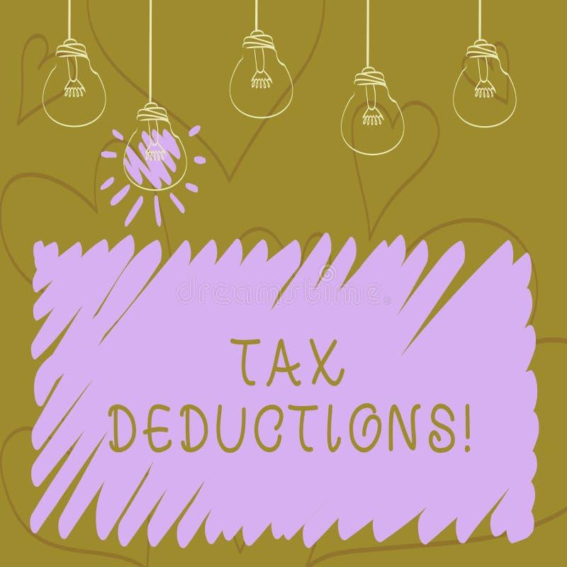 Avdrag för skatt för textteckenvisning Begreppsmässig fotoförminskning på retur för pengar för skattinvesteringbesparingar stock illustrationer