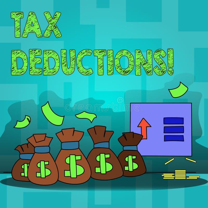Avdrag för skatt för textteckenvisning Begreppsmässig fotoförminskning på retur för pengar för skattinvesteringbesparingar vektor illustrationer