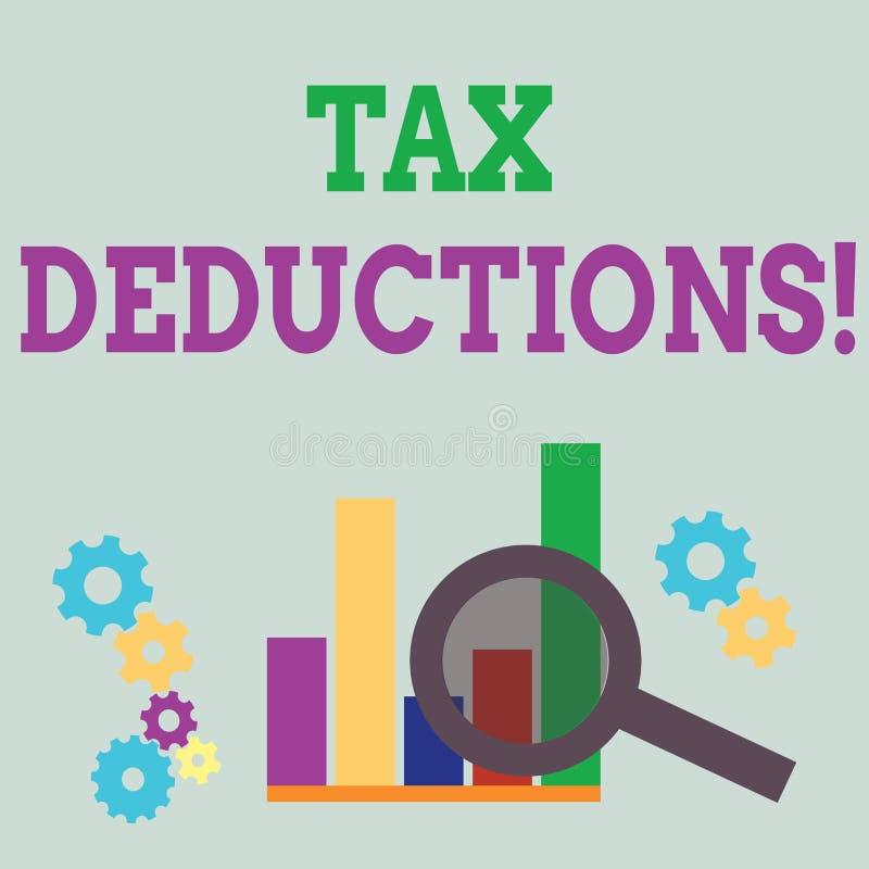 Avdrag f?r skatt f?r ordhandstiltext Affärsidéen för beloppet eller kostnad, som kan subtraheras från någon s, är inkomst vektor illustrationer