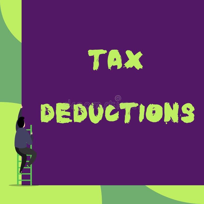 Avdrag f?r skatt f?r textteckenvisning Det begreppsmässiga fotoet ett belopp eller en kostnad, som subtraherade från någon s, är  stock illustrationer
