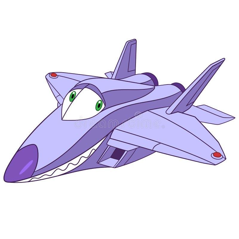 Ave de rapina bonito do plano f-22 dos desenhos animados ilustração stock