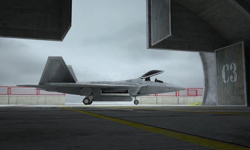 Ave de rapina de F 22, avião de combate militar americano Base de Militay, hangar, depósito ilustração do vetor