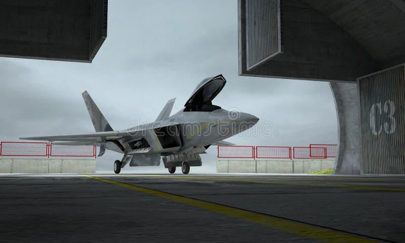 Ave de rapina de F 22, avião de combate militar americano Base de Militay, hangar, depósito ilustração royalty free