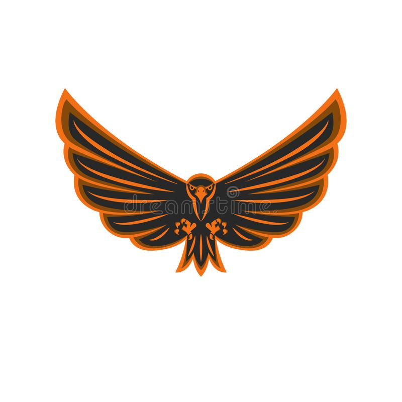 Ave rapaz del logotipo del águila del vuelo del talismán con las alas extensamente separadas y la impresión agresiva de la mirada ilustración del vector