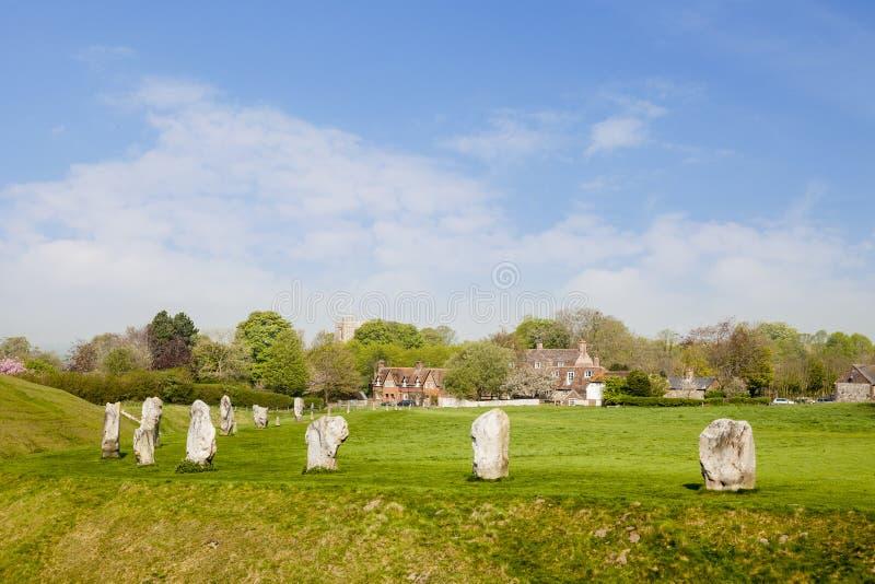 Avebury Stone Circle and Village, Wiltshire, England royalty free stock photo