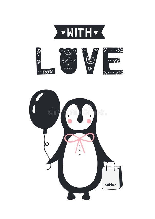 Avec amour - affiche d'anniversaire de crèche avec le pingouin et lettrage dedans dans le style scandinave Illustration de couleu illustration de vecteur
