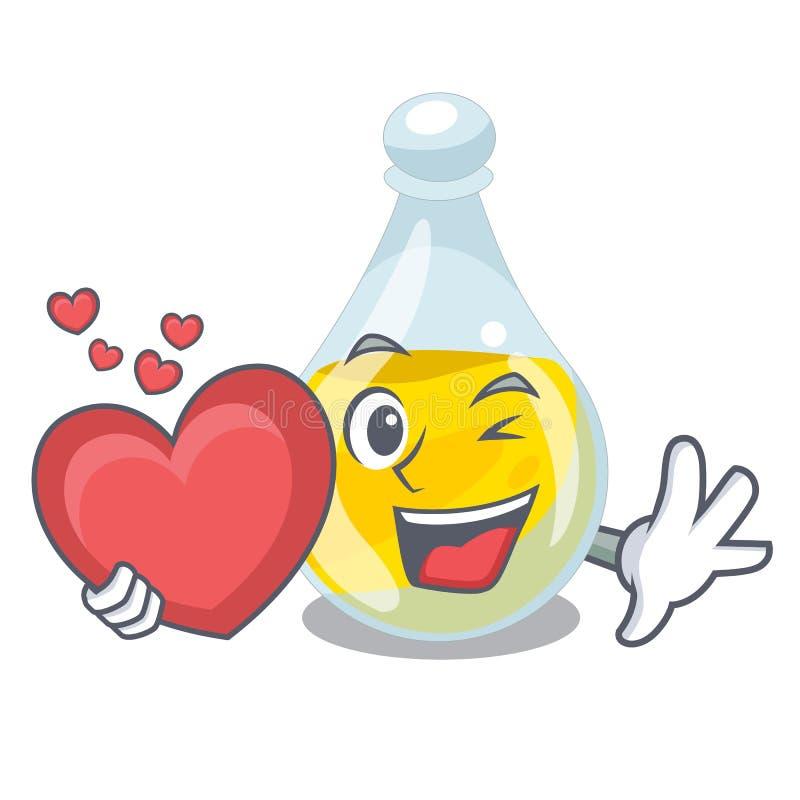 Avec de l'huile de sésame de coeur dans une cuvette de mascotte illustration de vecteur
